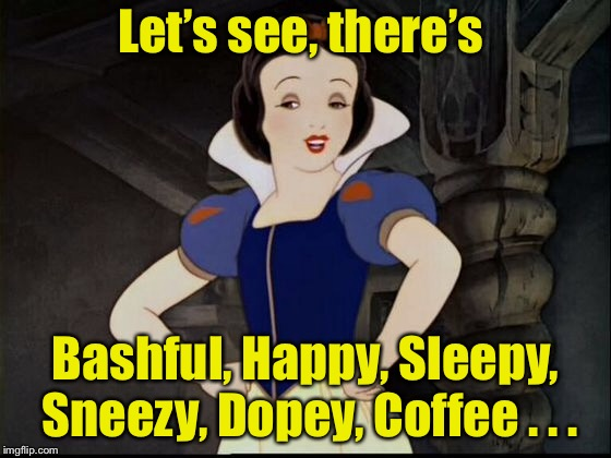 The real reason Snow White fell asleep is because there was no coffee | Let's see, there's Bashful, Happy, Sleepy, Sneezy, Dopey, Coffee . . . | image tagged in memes,snow white,seven dwarfs,coffee,coffee addict | made w/ Imgflip meme maker