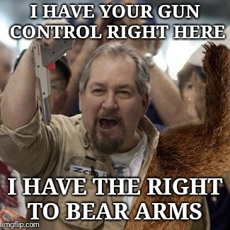 Undebated champion pew pew pew | I HAVE YOUR GUN CONTROL RIGHT HERE I HAVE THE RIGHT TO BEAR ARMS | image tagged in gun control,right to bear arms,memes,funny,lib protestors | made w/ Imgflip meme maker