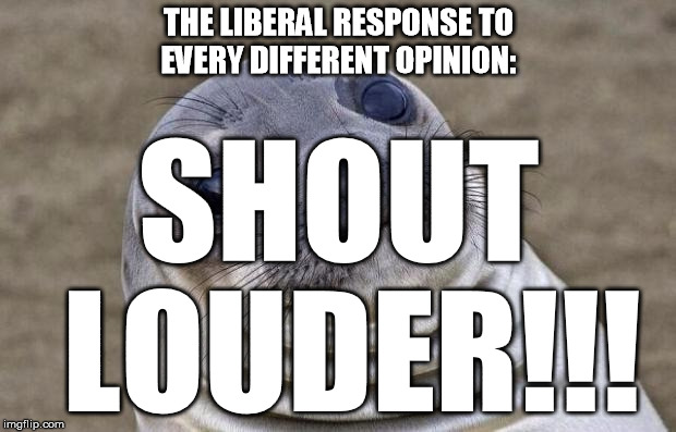 Awkward Moment Sealion Meme | THE LIBERAL RESPONSE TO EVERY DIFFERENT OPINION: SHOUT LOUDER!!! | image tagged in memes,awkward moment sealion | made w/ Imgflip meme maker