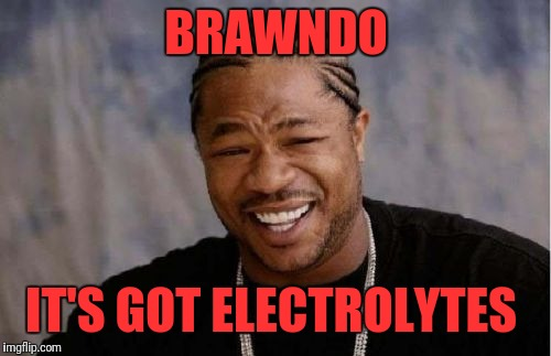 Yo Dawg Heard You Meme | BRAWNDO IT'S GOT ELECTROLYTES | image tagged in memes,yo dawg heard you | made w/ Imgflip meme maker