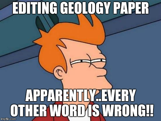Futurama Fry Meme | EDITING GEOLOGY PAPER APPARENTLY..EVERY OTHER WORD IS WRONG!! | image tagged in memes,futurama fry | made w/ Imgflip meme maker