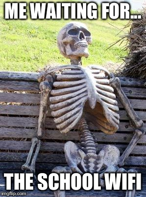 Waiting Skeleton Meme | ME WAITING FOR... THE SCHOOL WIFI | image tagged in memes,waiting skeleton | made w/ Imgflip meme maker