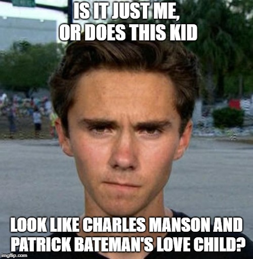 Love Child? | IS IT JUST ME, OR DOES THIS KID LOOK LIKE CHARLES MANSON AND PATRICK BATEMAN'S LOVE CHILD? | image tagged in charles manson,patrick bateman,love child,serial killer,psychopath,useful idiot | made w/ Imgflip meme maker