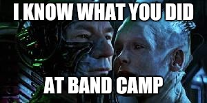 I KNOW WHAT YOU DID AT BAND CAMP | image tagged in star trek first contact picard borg queen | made w/ Imgflip meme maker