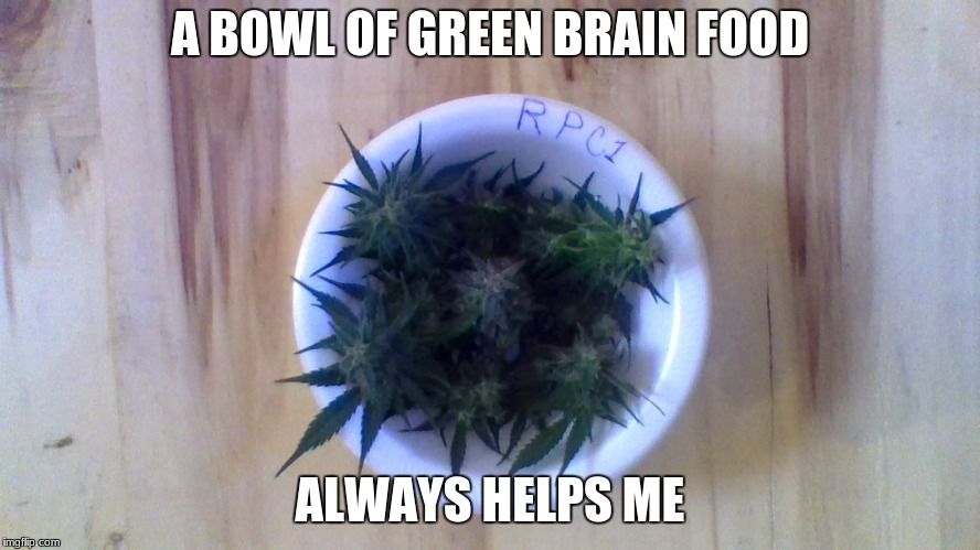 A BOWL OF GREEN BRAIN FOOD ALWAYS HELPS ME | made w/ Imgflip meme maker