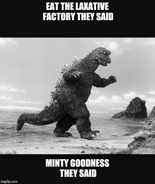 Godzilla  |  EAT THE LAXATIVE FACTORY THEY SAID; MINTY GOODNESS THEY SAID | image tagged in godzilla | made w/ Imgflip meme maker
