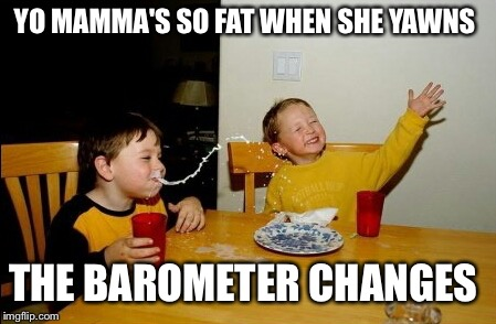 Yo Mamas So Fat Meme | YO MAMMA'S SO FAT WHEN SHE YAWNS THE BAROMETER CHANGES | image tagged in memes,yo mamas so fat | made w/ Imgflip meme maker