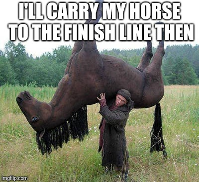 I'LL CARRY MY HORSE TO THE FINISH LINE THEN | image tagged in horse tired | made w/ Imgflip meme maker