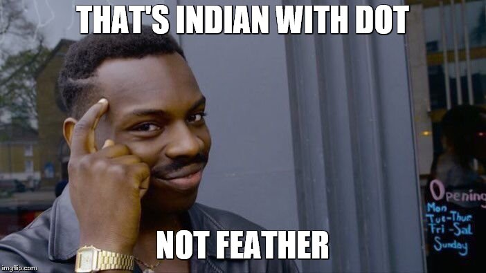 Roll Safe Think About It Meme | THAT'S INDIAN WITH DOT NOT FEATHER | image tagged in memes,roll safe think about it | made w/ Imgflip meme maker