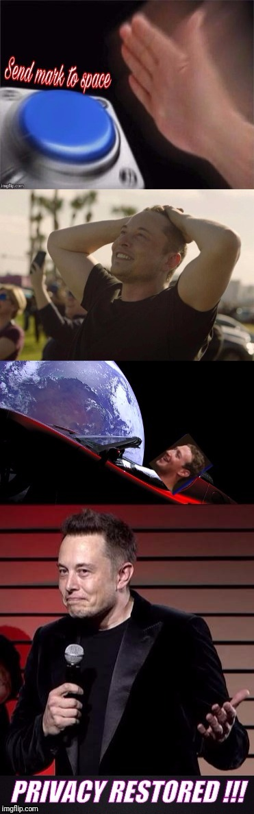 Mark in space | image tagged in elon musk,mark zuckerberg,facebook,funny memes,nut button | made w/ Imgflip meme maker