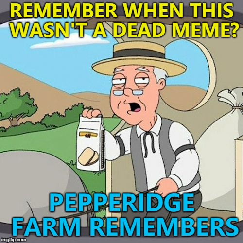 Dead memes week! A thecoffeemaster and SilicaSandwhich extravaganza (March 23-29) | REMEMBER WHEN THIS WASN'T A DEAD MEME? PEPPERIDGE FARM REMEMBERS | image tagged in memes,pepperidge farm remembers,dead memes week | made w/ Imgflip meme maker