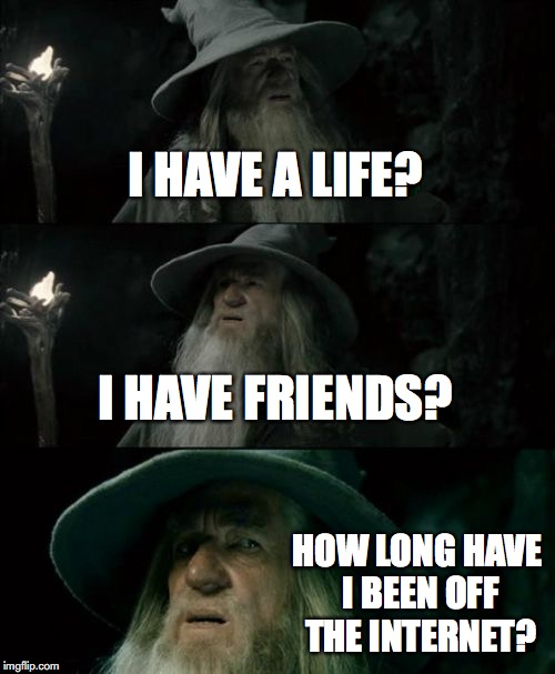 Confused Gandalf Meme | I HAVE A LIFE? I HAVE FRIENDS? HOW LONG HAVE I BEEN OFF THE INTERNET? | image tagged in memes,confused gandalf | made w/ Imgflip meme maker
