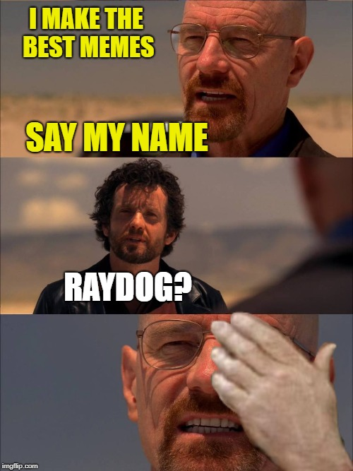 Breaking Meme-(Dead Memes Week!)A thecoffeemaster and SilicaSandwhich Event! March 23-29 | I MAKE THE BEST MEMES RAYDOG? SAY MY NAME | image tagged in funny memes,dead memes week,breaking bad,heisenberg | made w/ Imgflip meme maker