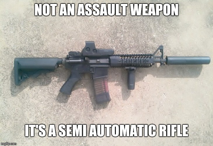 AR15 | NOT AN ASSAULT WEAPON IT'S A SEMI AUTOMATIC RIFLE | image tagged in ar15 | made w/ Imgflip meme maker