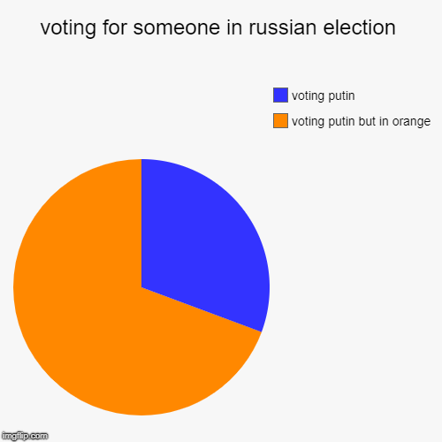 in russia you dont chose the president the president choose you | voting for someone in russian election | voting putin but in orange, voting putin | image tagged in funny,pie charts,ssby,russia | made w/ Imgflip chart maker