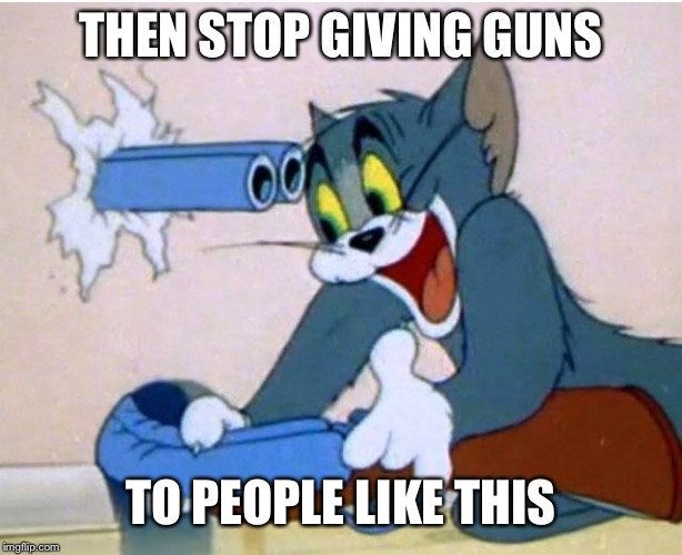 You want gun safety? | THEN STOP GIVING GUNS TO PEOPLE LIKE THIS | image tagged in tom and jerry | made w/ Imgflip meme maker