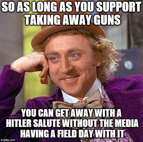 Creepy Condescending Wonka Meme | SO AS LONG AS YOU SUPPORT TAKING AWAY GUNS YOU CAN GET AWAY WITH A HITLER SALUTE WITHOUT THE MEDIA HAVING A FIELD DAY WITH IT | image tagged in memes,creepy condescending wonka | made w/ Imgflip meme maker