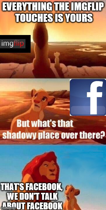 Simba Shadowy Place Meme | EVERYTHING THE IMGFLIP TOUCHES IS YOURS THAT'S FACEBOOK, WE DON'T TALK ABOUT FACEBOOK | image tagged in memes,simba shadowy place | made w/ Imgflip meme maker