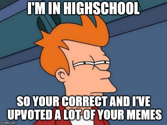 Futurama Fry Meme | I'M IN HIGHSCHOOL SO YOUR CORRECT AND I'VE UPVOTED A LOT OF YOUR MEMES | image tagged in memes,futurama fry | made w/ Imgflip meme maker