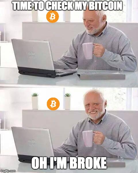 Hate the Bitcoin Harold | TIME TO CHECK MY BITCOIN OH I'M BROKE | image tagged in memes,hide the pain harold | made w/ Imgflip meme maker