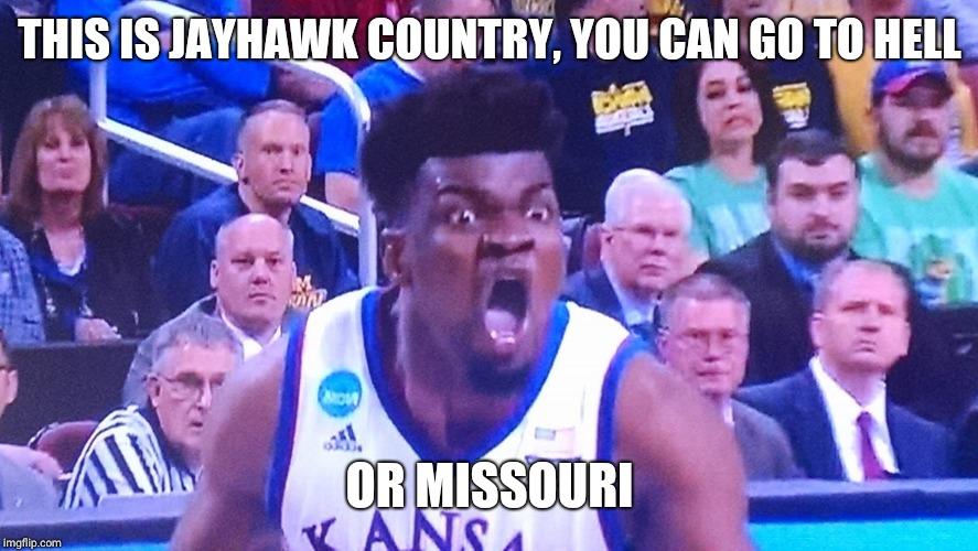 THIS IS JAYHAWK COUNTRY, YOU CAN GO TO HELL OR MISSOURI | image tagged in kansas jayhawks | made w/ Imgflip meme maker