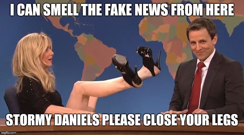 Stormy Daniels | I CAN SMELL THE FAKE NEWS FROM HERE STORMY DANIELS PLEASE CLOSE YOUR LEGS | image tagged in stormy daniels | made w/ Imgflip meme maker