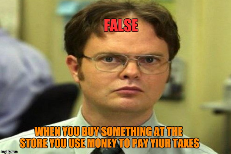 WHEN YOU BUY SOMETHING AT THE STORE YOU USE MONEY TO PAY YIUR TAXES FALSE | made w/ Imgflip meme maker