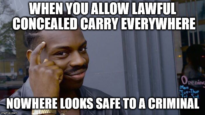 Roll Safe Think About It Meme | WHEN YOU ALLOW LAWFUL CONCEALED CARRY EVERYWHERE NOWHERE LOOKS SAFE TO A CRIMINAL | image tagged in memes,roll safe think about it | made w/ Imgflip meme maker