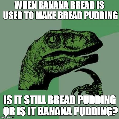 Philosoraptor Meme | WHEN BANANA BREAD IS USED TO MAKE BREAD PUDDING IS IT STILL BREAD PUDDING OR IS IT BANANA PUDDING? | image tagged in memes,philosoraptor | made w/ Imgflip meme maker