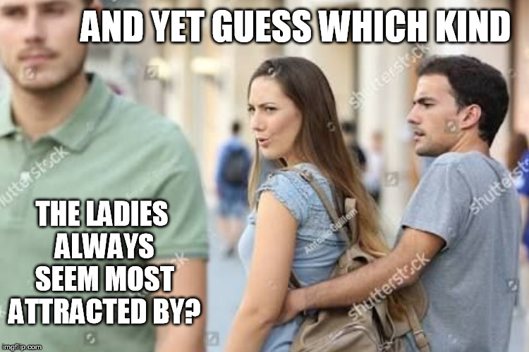 AND YET GUESS WHICH KIND THE LADIES ALWAYS SEEM MOST ATTRACTED BY? | made w/ Imgflip meme maker
