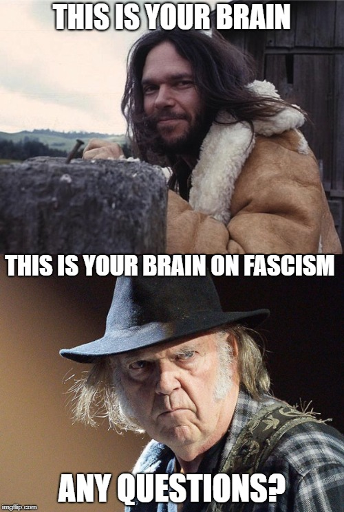 Your Brain on Fascism | THIS IS YOUR BRAIN ANY QUESTIONS? THIS IS YOUR BRAIN ON FASCISM | image tagged in neil young,fascist,nasty,hateful,hillbilly psycho | made w/ Imgflip meme maker