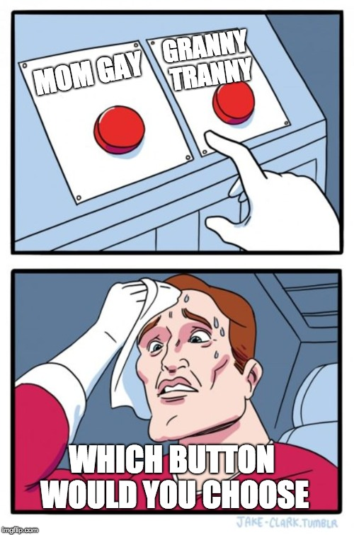 Two Buttons Meme | MOM GAY GRANNY TRANNY WHICH BUTTON WOULD YOU CHOOSE | image tagged in memes,two buttons | made w/ Imgflip meme maker