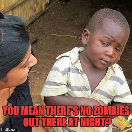 Third World Skeptical Kid Meme | YOU MEAN THERE'S NO ZOMBIES OUT THERE AT NIGHT? | image tagged in memes,third world skeptical kid | made w/ Imgflip meme maker
