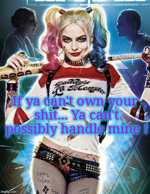 Harley Quinn | If ya can't own your shit... Ya can't possibly handle mine ! | image tagged in harley quinn,hot memes,owned,feedback,liars,denial | made w/ Imgflip meme maker