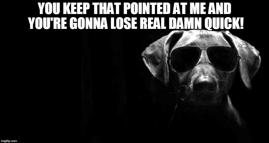 YOU KEEP THAT POINTED AT ME AND YOU'RE GONNA LOSE REAL DAMN QUICK! | made w/ Imgflip meme maker