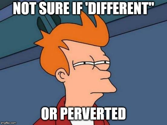 "Futurama Fry Meme | NOT SURE IF 'DIFFERENT"" OR PERVERTED 