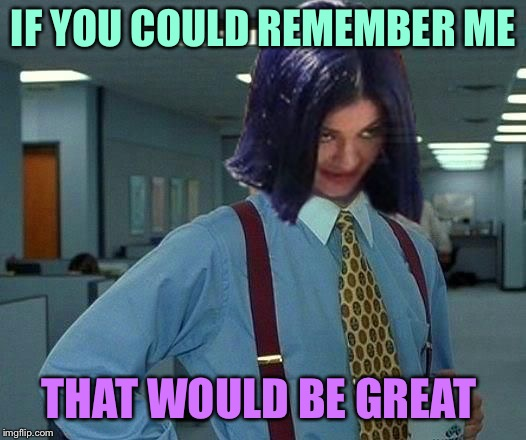 Kylie Would Be Great | IF YOU COULD REMEMBER ME THAT WOULD BE GREAT | image tagged in kylie would be great | made w/ Imgflip meme maker