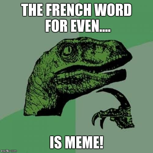 Look at this new even I made! | THE FRENCH WORD FOR EVEN.... IS MEME! | image tagged in memes,philosoraptor | made w/ Imgflip meme maker