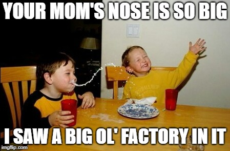 Something Smells Punny | YOUR MOM'S NOSE IS SO BIG I SAW A BIG OL' FACTORY IN IT | image tagged in memes,yo mamas so fat,puns | made w/ Imgflip meme maker