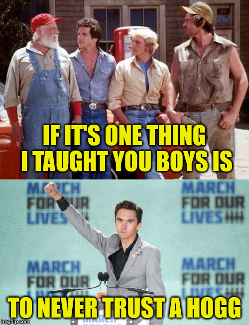Dukes - Hogg | IF IT'S ONE THING I TAUGHT YOU BOYS IS TO NEVER TRUST A HOGG | image tagged in dukes hogg,memes,david hogg,dukes of hazzard | made w/ Imgflip meme maker