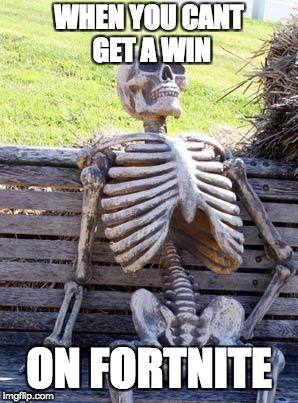Waiting Skeleton Meme | WHEN YOU CANT GET A WIN ON FORTNITE | image tagged in memes,waiting skeleton | made w/ Imgflip meme maker