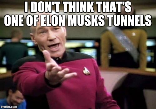 Picard Wtf Meme | I DON'T THINK THAT'S ONE OF ELON MUSKS TUNNELS | image tagged in memes,picard wtf | made w/ Imgflip meme maker