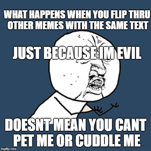 Y U No Meme | JUST BECAUSE IM EVIL DOESNT MEAN YOU CANT PET ME OR CUDDLE ME WHAT HAPPENS WHEN YOU FLIP THRU OTHER MEMES WITH THE SAME TEXT | image tagged in memes,y u no | made w/ Imgflip meme maker