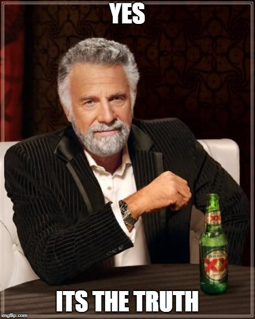 The Most Interesting Man In The World Meme | YES ITS THE TRUTH | image tagged in memes,the most interesting man in the world | made w/ Imgflip meme maker