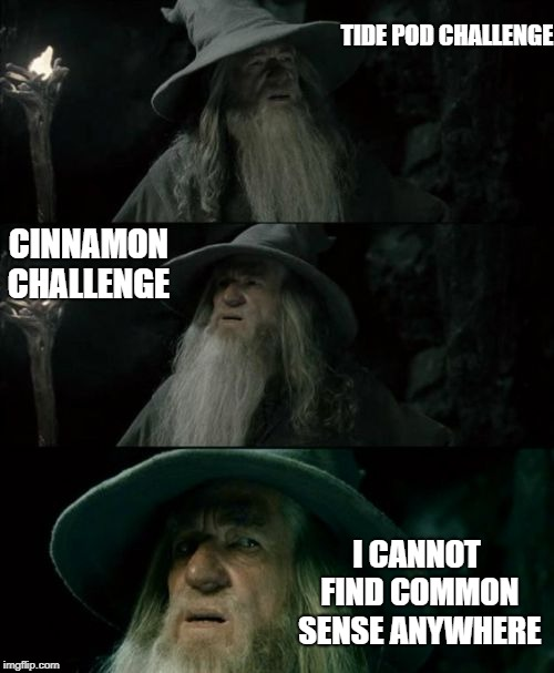 Confused Gandalf Meme | TIDE POD CHALLENGE CINNAMON CHALLENGE I CANNOT FIND COMMON SENSE ANYWHERE | image tagged in memes,confused gandalf | made w/ Imgflip meme maker