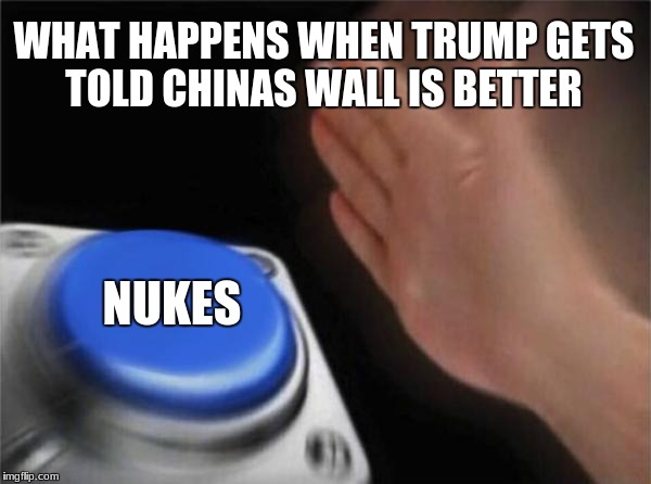 Blank Nut Button Meme | WHAT HAPPENS WHEN TRUMP GETS TOLD CHINAS WALL IS BETTER NUKES | image tagged in memes,blank nut button | made w/ Imgflip meme maker