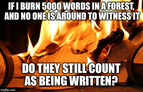 IF I BURN 5000 WORDS IN A FOREST, AND NO ONE IS AROUND TO WITNESS IT DO THEY STILL COUNT AS BEING WRITTEN? | image tagged in burning paper | made w/ Imgflip meme maker