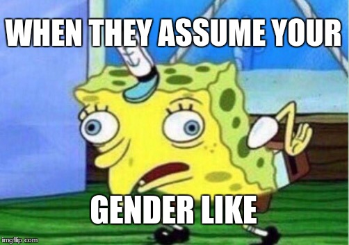 its 2018 |  WHEN THEY ASSUME YOUR; GENDER LIKE | image tagged in memes,mocking spongebob | made w/ Imgflip meme maker