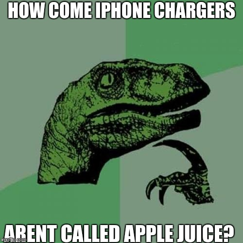 Philosoraptor Meme | HOW COME IPHONE CHARGERS ARENT CALLED APPLE JUICE? | image tagged in memes,philosoraptor | made w/ Imgflip meme maker