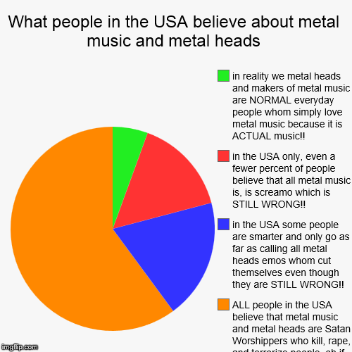 What people in the USA believe about metal music and it SICKENS me!!! | What people in the USA believe about metal music and metal heads | ALL people in the USA believe that metal music and metal heads are Satan  | image tagged in funny,pie charts | made w/ Imgflip pie chart maker